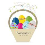 Tarjeta de felicitación feliz de la cesta del huevo de Pascua Imagenes de archivo