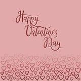 Tarjeta de felicitación feliz de las letras de la mano del día del ` s de la tarjeta del día de San Valentín Foto de archivo