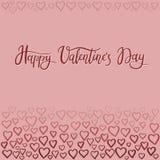 Tarjeta de felicitación feliz de las letras de la mano del día del ` s de la tarjeta del día de San Valentín Foto de archivo libre de regalías
