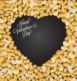 Tarjeta de felicitación feliz de las letras del día de la tarjeta del día de San Valentín en fondo oscuro Imágenes de archivo libres de regalías
