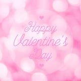 Tarjeta de felicitación feliz de las letras del día de la tarjeta del día de San Valentín en la parte posterior rosada del bokeh Foto de archivo