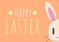 Tarjeta de felicitación feliz de Pascua con el conejito de pascua Foto de archivo
