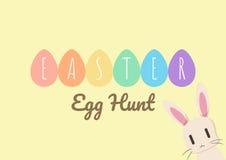 Tarjeta de felicitación feliz de pascua con el conejito y el huevo de Pascua Imagen de archivo