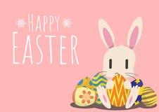 Tarjeta de felicitación feliz de pascua con el conejito y el huevo de Pascua Foto de archivo