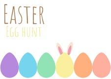 Tarjeta de felicitación feliz de pascua con el conejito y el huevo de Pascua Fotos de archivo libres de regalías