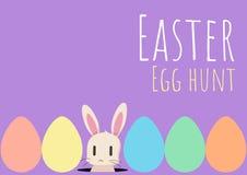 Tarjeta de felicitación feliz de pascua con el conejito y el huevo de Pascua Imagen de archivo libre de regalías