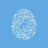Tarjeta de felicitación feliz de Pascua con el conejo lindo y los elementos florales libre illustration