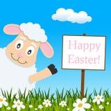 Tarjeta de felicitación feliz de Pascua con el cordero lindo ilustración del vector