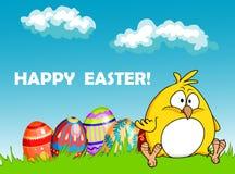 Tarjeta de felicitación feliz de Pascua con huevos y un polluelo Imágenes de archivo libres de regalías