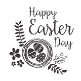 Tarjeta de felicitación feliz de Pascua con las flores y los huevos Imagen de archivo libre de regalías