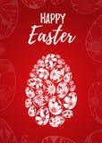 Tarjeta de felicitación feliz de Pascua con las letras dibujadas mano y huevos blancos con los elementos florales Fotos de archivo