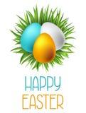 Tarjeta de felicitación feliz de pascua con los huevos El concepto se puede utilizar para las invitaciones y los carteles del día