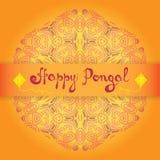 Tarjeta de felicitación feliz de Pongal Festival de cosecha indio Makar Sankranti Fotografía de archivo libre de regalías