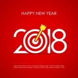 Tarjeta de felicitación feliz del Año Nuevo 2018 Foto de archivo