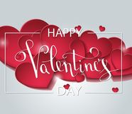 Tarjeta de felicitación feliz del amor del día de tarjetas del día de San Valentín con la forma polivinílica baja blanca del cora stock de ilustración