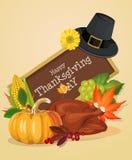 Tarjeta de felicitación feliz del día de la acción de gracias con las calabazas, el sombrero del peregrino y el pavo Imagen de archivo