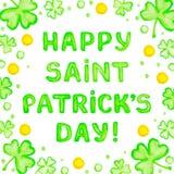 Tarjeta de felicitación feliz del día de Patricks del santo Imagen de archivo libre de regalías
