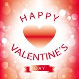 Tarjeta de felicitación feliz del día de tarjeta del día de San Valentín con el corazón rojo Imágenes de archivo libres de regalías