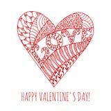 Tarjeta de felicitación feliz del día de tarjeta del día de San Valentín con la mano Imagen de archivo
