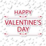 Tarjeta de felicitación feliz del día de tarjeta del día de San Valentín con los corazones blancos Imágenes de archivo libres de regalías