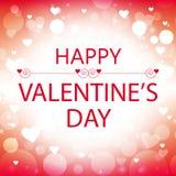 Tarjeta de felicitación feliz del día de tarjeta del día de San Valentín con los corazones blancos Foto de archivo libre de regalías