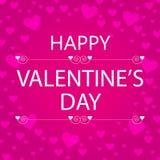 Tarjeta de felicitación feliz del día de tarjeta del día de San Valentín con los corazones rosados Fotografía de archivo
