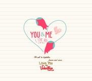 Tarjeta de felicitación feliz del día de tarjetas del día de San Valentín stock de ilustración