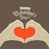 Tarjeta de felicitación feliz del día de tarjetas del día de San Valentín Foto de archivo