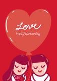 Tarjeta de felicitación feliz del día de tarjetas del día de San Valentín Foto de archivo libre de regalías