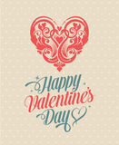 Tarjeta de felicitación feliz del día de tarjetas del día de San Valentín del vintage retro Imagen de archivo libre de regalías