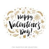 Tarjeta de felicitación feliz del día de tarjetas del día de San Valentín Diseño dibujado mano de la caligrafía Imagen de archivo libre de regalías
