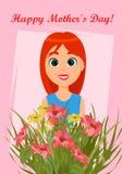 Tarjeta de felicitación feliz del día del ` s de la madre ilustración del vector