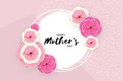 Tarjeta de felicitación feliz del día del ` s de la madre Flor de corte de papel en colores pastel rosada Marco del círculo Espac Imagen de archivo libre de regalías