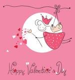 Tarjeta de felicitación feliz del día del `s de la tarjeta del día de San Valentín stock de ilustración