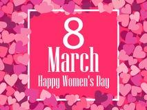 Tarjeta de felicitación feliz del día del ` s de las mujeres 8 de marzo Capítulo y texto Vector Imagen de archivo