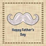 Tarjeta de felicitación feliz del día del ` s del padre Tipografía del vector Postal con un bigote retro del zentangle para un pa Fotografía de archivo libre de regalías