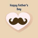 Tarjeta de felicitación feliz del día del ` s del padre Tipografía del vector Postal con una forma del bigote y del corazón Fotografía de archivo