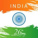Tarjeta de felicitación feliz del día de la república de la India con el movimiento del cepillo en colores de la bandera nacional libre illustration