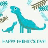 Tarjeta de felicitación feliz del día de padre con el dinosaurio lindo ilustración del vector