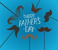 Tarjeta de felicitación feliz del día de padres con el bigote ilustración del vector