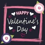 Tarjeta de felicitación feliz del día del `s de la tarjeta del día de San Valentín Fotografía de archivo