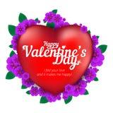 Tarjeta de felicitación feliz del día del ` s de la tarjeta del día de San Valentín con el corazón rojo y flores aisladas en el f Foto de archivo