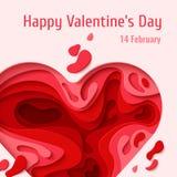 Tarjeta de felicitación feliz del día de tarjetas del día de San Valentín Imágenes de archivo libres de regalías