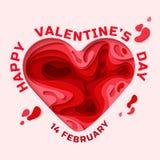 Tarjeta de felicitación feliz del día de tarjetas del día de San Valentín Fotos de archivo