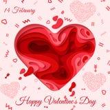 Tarjeta de felicitación feliz del día de tarjetas del día de San Valentín Imagen de archivo libre de regalías