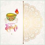 Tarjeta de felicitación feliz del oro de Diwali con la inscripción escrita mano stock de ilustración