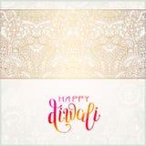 Tarjeta de felicitación feliz del oro de Diwali con la inscripción escrita mano Imagen de archivo libre de regalías