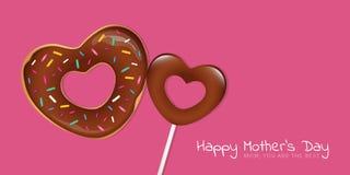 Tarjeta de felicitación feliz del rosa del día de madres con el buñuelo y la piruleta en forma de corazón ilustración del vector