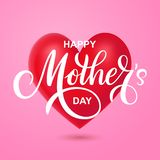 Tarjeta de felicitación feliz del vector del día de madres en corazón rojo ilustración del vector