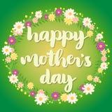 Tarjeta de felicitación feliz del verde del día de madre Fotos de archivo libres de regalías